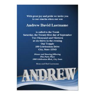Bar conhecido personalizado Mitzvah Convite 12.7 X 17.78cm