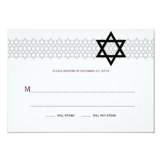 Bar de brilho Mitzvah RSVP da estrela no roxo Convite 8.89 X 12.7cm