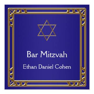 Bar de ouro Mitzvah dos azuis marinhos Convite Quadrado 13.35 X 13.35cm