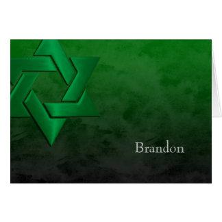 Bar Grunge preto e verde de Mitzvah Cartões