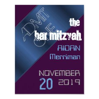 Bar metálico azul Mitzvah de Mitzvah do bastão Convites Personalizado