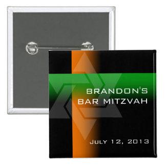 Bar Mitzvah alaranjado e verde em alguma cor Bóton Quadrado 5.08cm