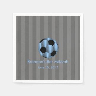 Bar Mitzvah alguma bola de futebol azul da listra  Guardanapo De Papel