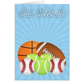 Bar Mitzvah com as várias bolas do esporte, tênis, Cartão Comemorativo