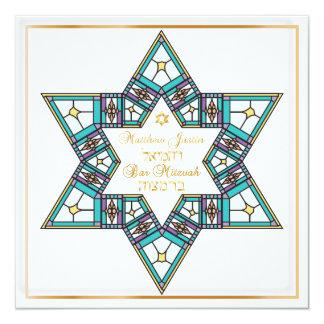 Bar Mitzvah da estrela do vidro colorido de Convite Quadrado 13.35 X 13.35cm