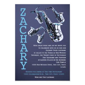Bar Mitzvah da música do saxofone Convite 12.7 X 17.78cm