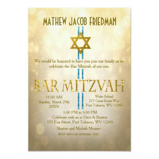 Bar Mitzvah de Bokeh | do ouro Convite 12.7 X 17.78cm