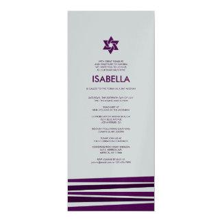 "Bar Mitzvah de Tallit na prata metálica Convite 10.16"" X 23.49cm"