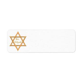 Bar Mitzvah/estrela de David Etiqueta Endereço De Retorno