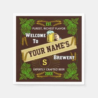Bar personalizado cervejaria da cevada dos saltos guardanapo de papel