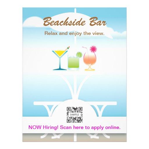 Bar perto da praia do modelo do insecto panfletos coloridos