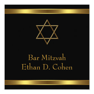 Bar preto Mitzvah da estrela de David do ouro Convite Quadrado 13.35 X 13.35cm