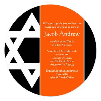 Bar redondo Mitzvah da estrela de David alaranjada Convite Quadrado 13.35 X 13.35cm