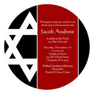 Bar redondo Mitzvah da estrela de David vermelha e Convite Quadrado 13.35 X 13.35cm