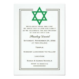 Bar verde Mitzvah da beira do dobro da estrela de Convite 12.7 X 17.78cm