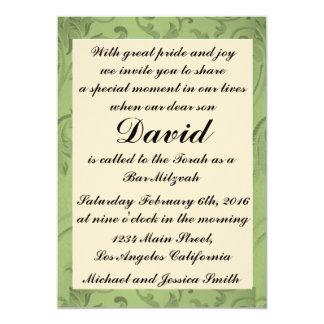 Bar verde Mitzvah das flores/convite do Convite 12.7 X 17.78cm