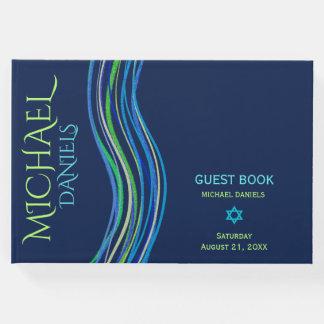 Bar xaile azul e verde de Mitzvah de oração Livro De Visitas