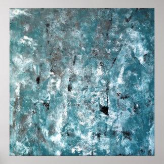 """Baralhando"" a cerceta e a arte abstracta cinzenta Poster"