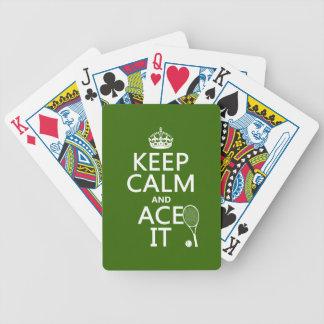 Baralho Mantenha a calma e Ace a (o tênis) (em alguma cor)