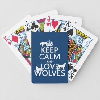 Baralho Mantenha a calma e ame lobos (alguma cor do fundo)
