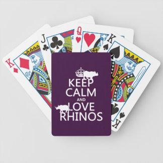 Baralho Mantenha a calma e ame Rhinos (alguma cor do