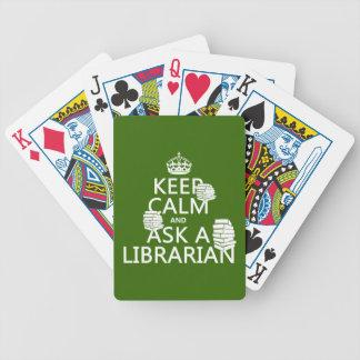 Baralho Mantenha a calma e pergunte a um bibliotecário