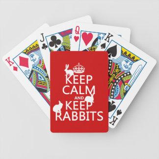 Baralho Mantenha calmo e mantenha coelhos - todas as cores