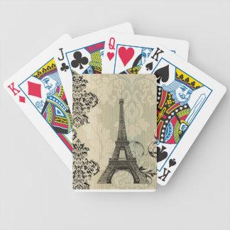 Baralho Para Pôquer Torre Eiffel bege chique de Paris do damasco de
