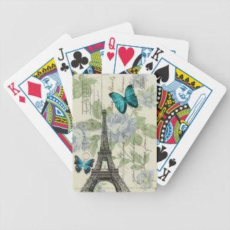 Baralhos Para Poker torre Eiffel floral de Paris da borboleta do