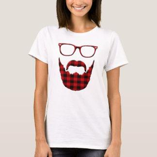 Barba e vidros da xadrez do hipster camiseta