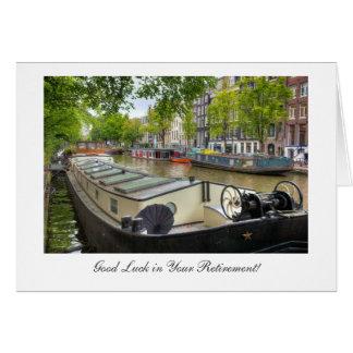 Barca do canal de Amsterdão, boa sorte na Cartão Comemorativo
