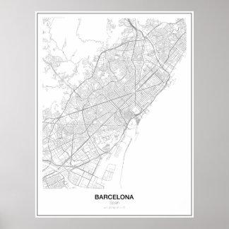 Barcelona, poster minimalista do mapa da espanha