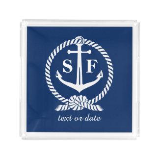 Barco azul náutico da praia da âncora do monograma