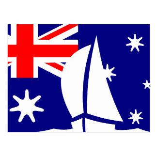Barco de navigação da bandeira de Austrália Cartão Postal