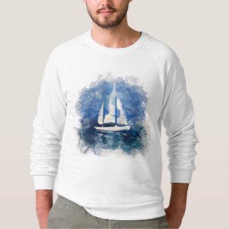 Barco de vela na camisa de suor do clima de