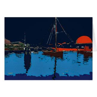 Barco de vela no por do sol cartão comemorativo