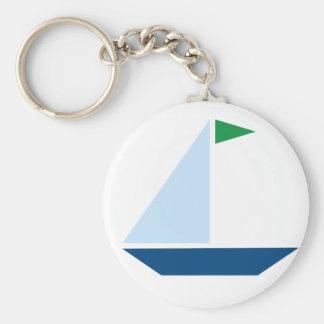 Barco de vela verde da bandeira chaveiro