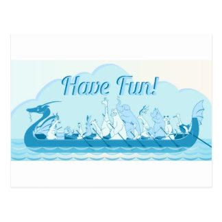 Barco do dragão - dragão de água - tenha o cartão postal