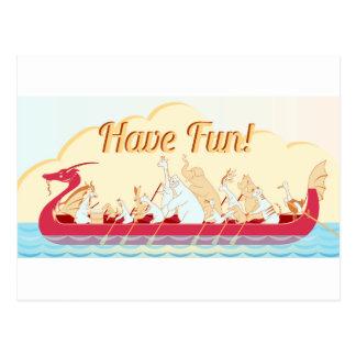 Barco do dragão - dragão do fogo - tenha o cartão postal