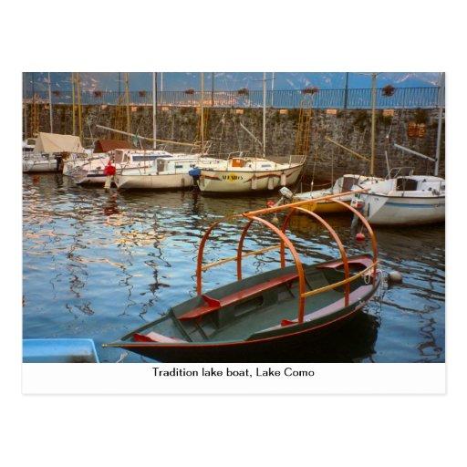 Barco do lago tradition, lago Como, Cartoes Postais