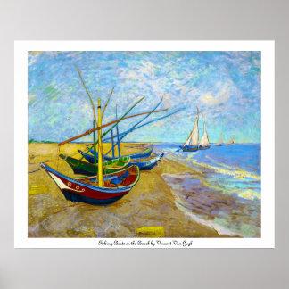 Barcos de pesca na praia por Vincent van Gogh Pôster