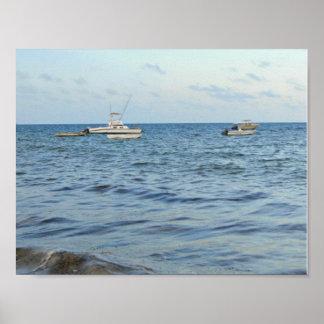 Barcos na decoração da casa do caribe do mar poster