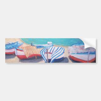 Barcos na praia - autocolante no vidro traseiro adesivo para carro