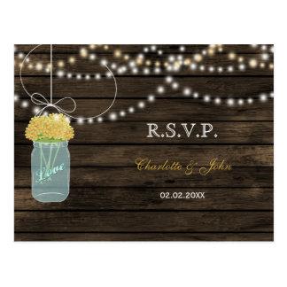 Barnwood mason jars yellow wedding RSVP Post Cards