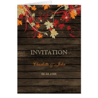 Barnwood, queda rústica deixa convites de cartão comemorativo
