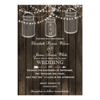 Barnwood rústico convites do casamento do frasco