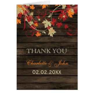 Barnwood rústico, folhas da queda que wedding o cartão comemorativo