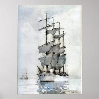 Barque suprido quatro quadro impressão