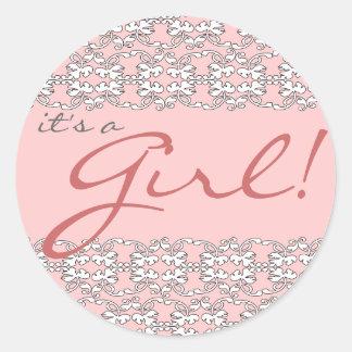 Barroco no rosa é uma etiqueta da menina adesivos em formato redondos