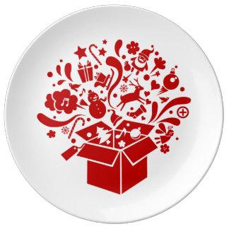 Base espírito festeja Natal Pratos De Porcelana